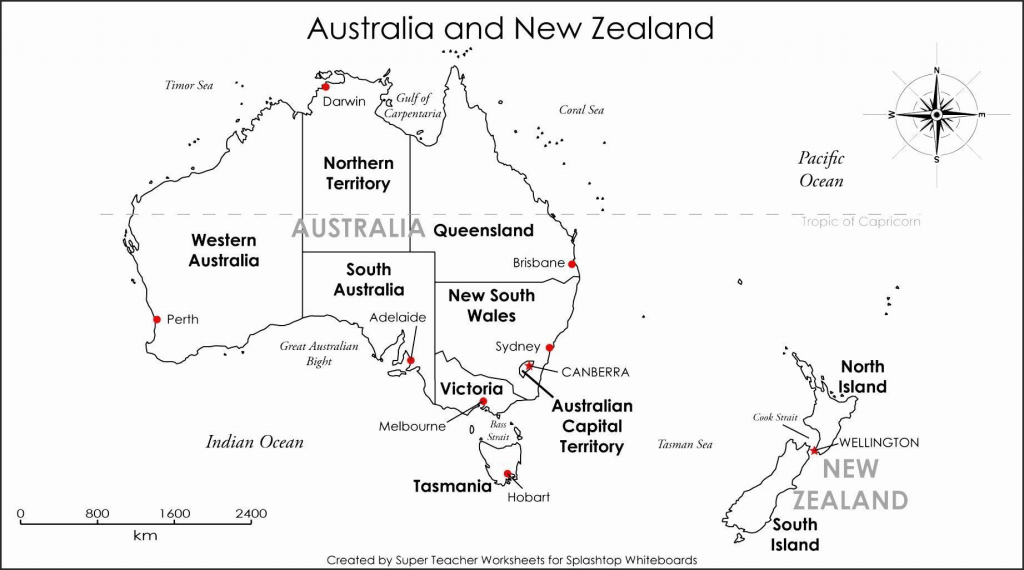 Blank Map Of Australia And New Zealand And Travel Information pertaining to Free Printable Map Of Australia