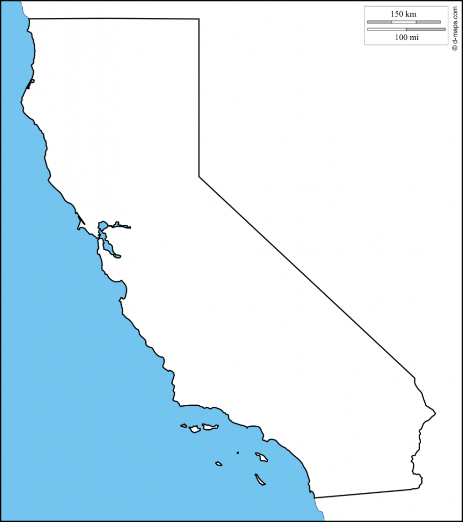 Blank Map Of California Printable | Klipy regarding Blank Map Of California Printable