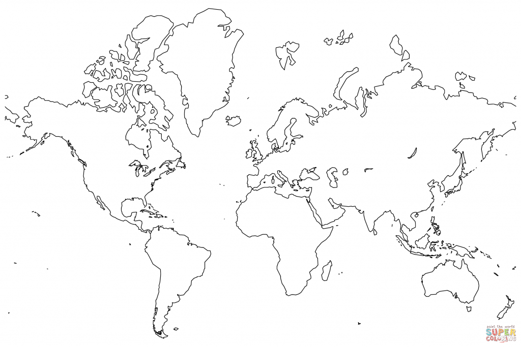 Blank Map Of The World Coloring Page | Free Printable Coloring Pages for Colorable World Map Printable