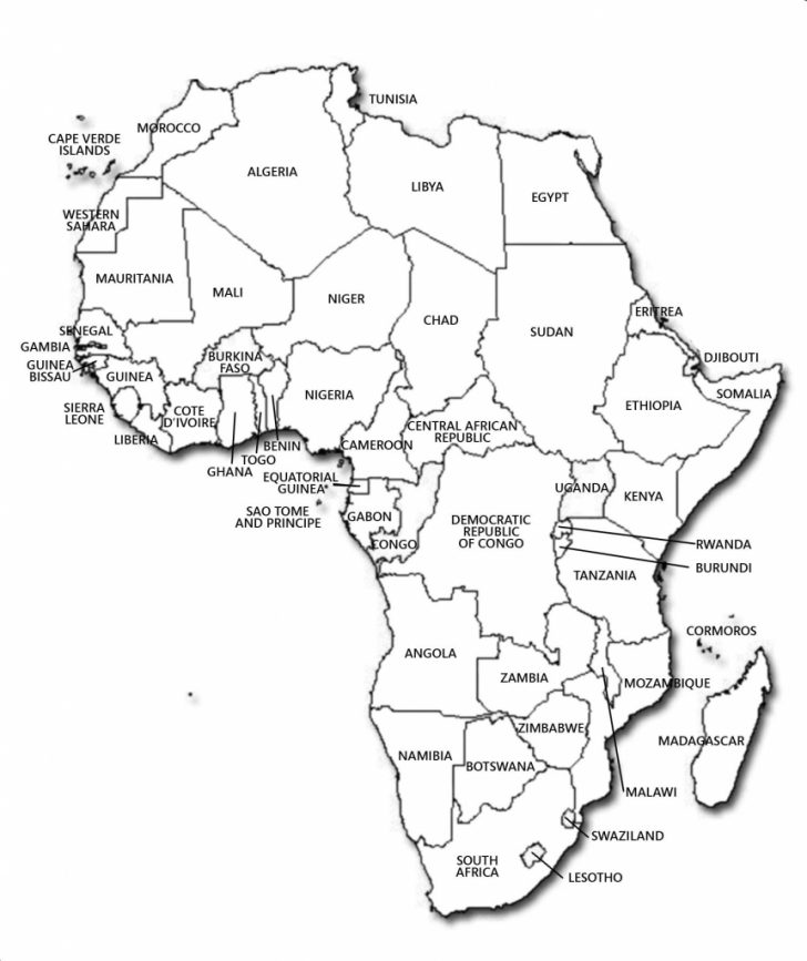 Blank Outline Map Of Africa Printable