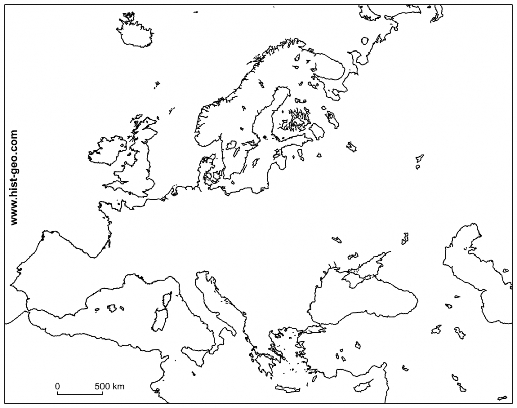 Blank Outline Maps Of The European Continent regarding Printable Blank Map Of Europe
