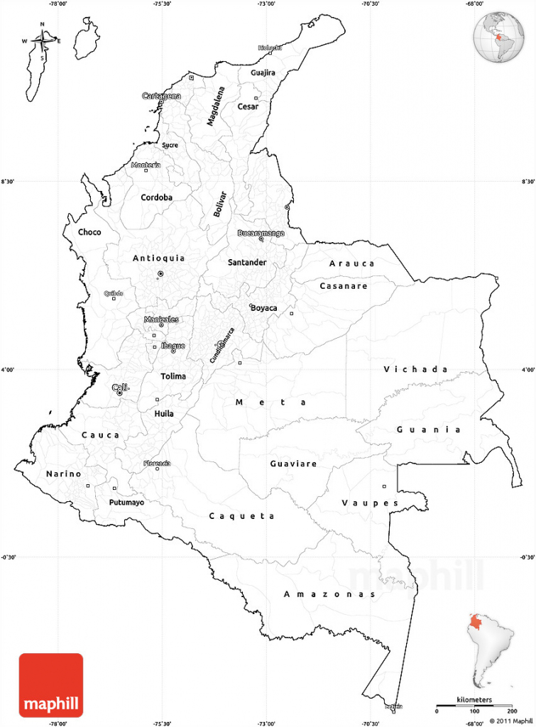 Blank Simple Map Of Colombia, Cropped Outside regarding Printable Map Of Colombia