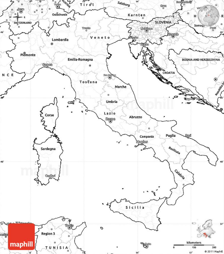 Blank Simple Map Of Italy inside Printable Blank Map Of Italy