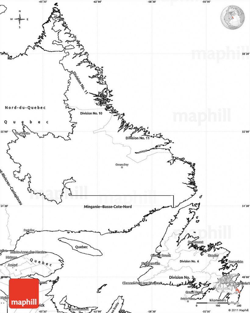Blank Simple Map Of Newfoundland And Labrador with Printable Map Of Newfoundland