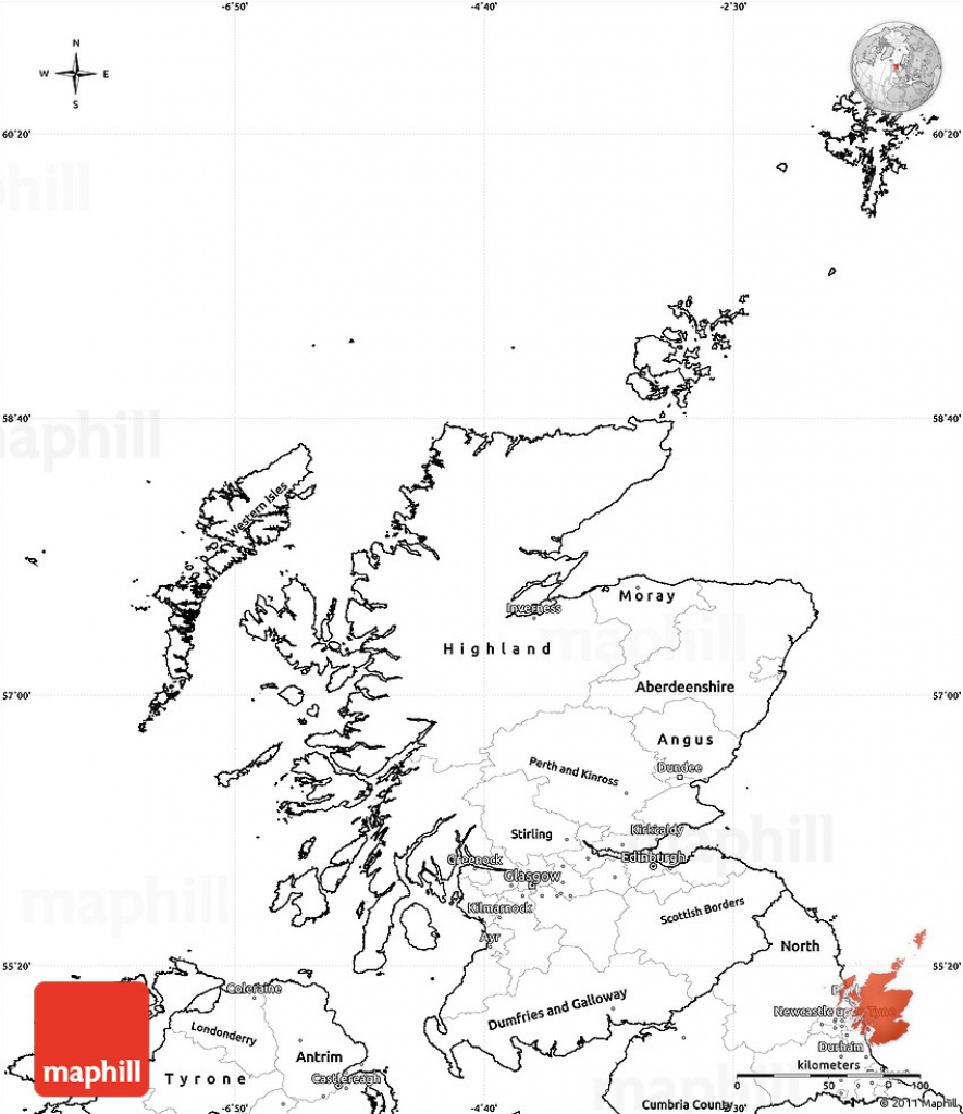 Blank Simple Map Of Scotland inside Blank Map Of Scotland Printable