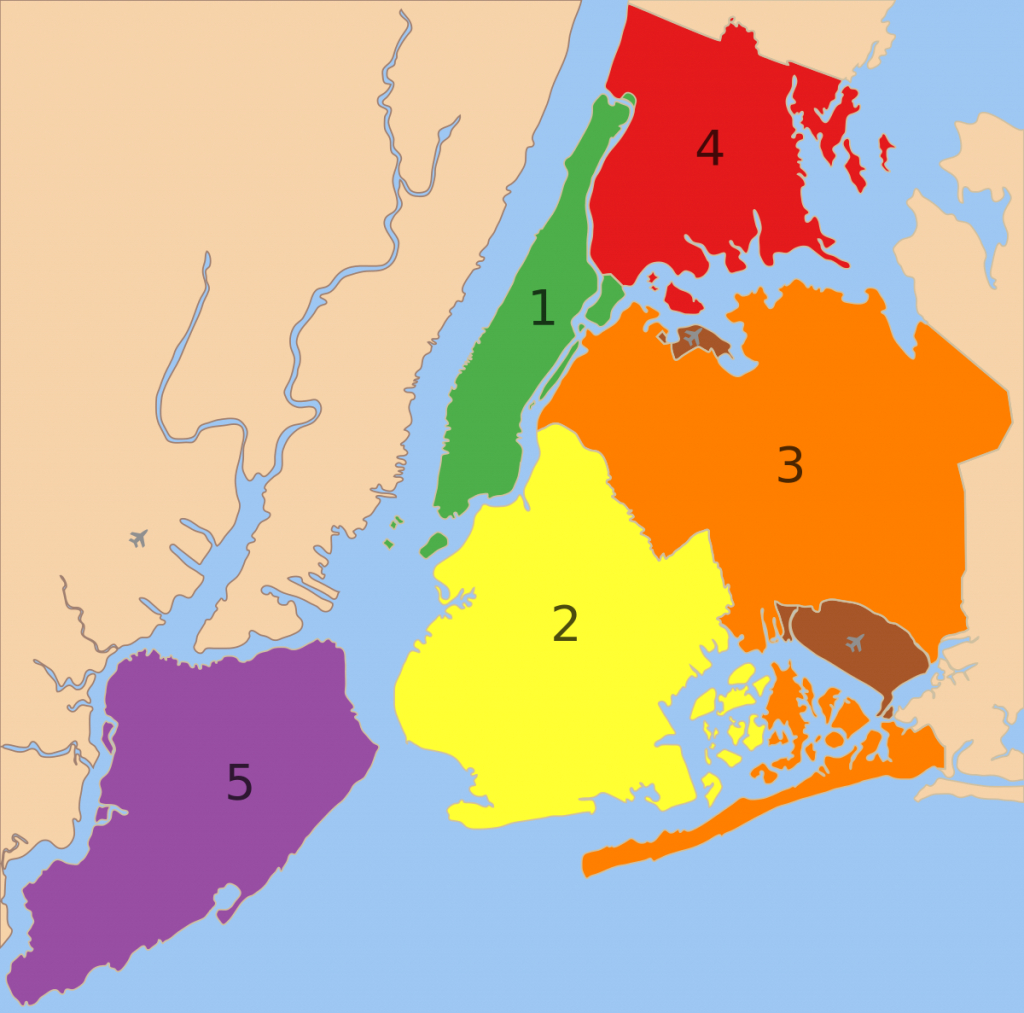 Boroughs Of New York City - Wikipedia throughout Map Of The 5 Boroughs Printable