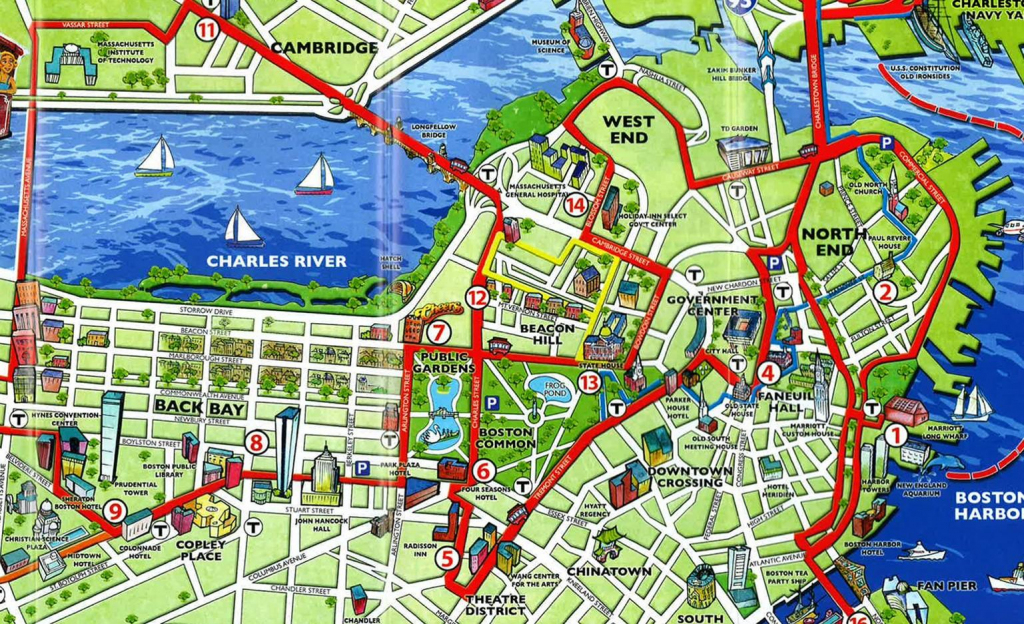 Boston Attractions Map - Map Of Boston Attractions (United States Of inside Printable Map Of Boston Attractions