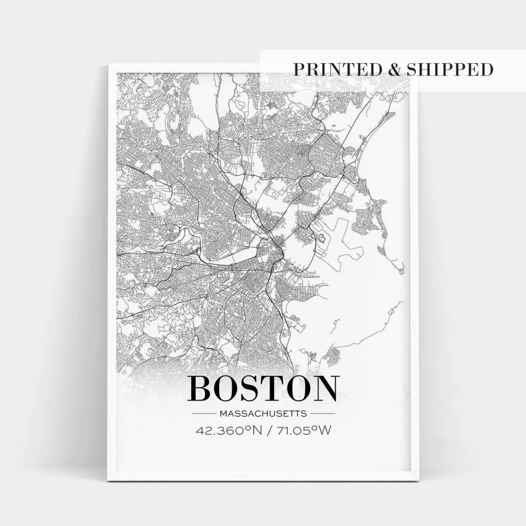 Boston Print, Boston City Map, Boston Poster, Boston Map Print for Boston City Map Printable