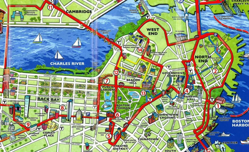 Boston Tourist Map - Tourist Map Of Boston (United States Of America) with Boston Tourist Map Printable