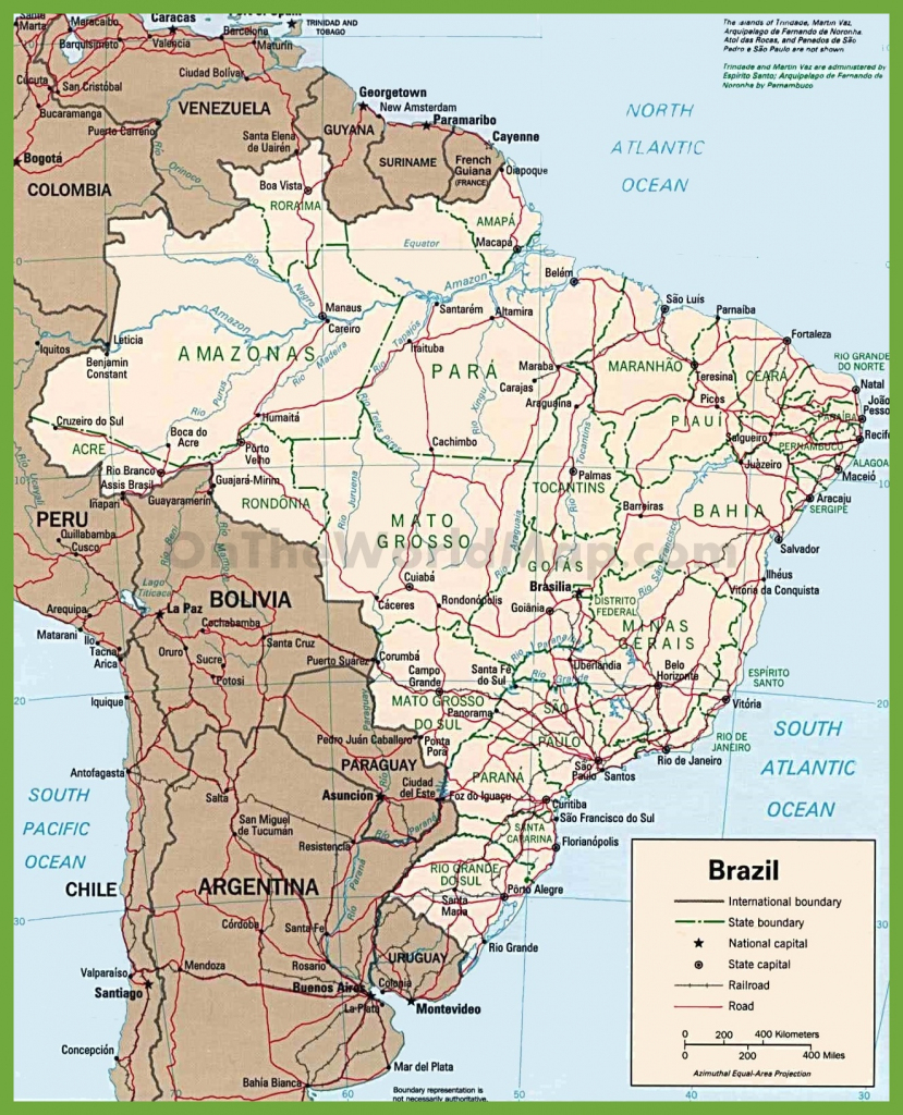 Brazil Road Map - Free Printable Map Of Brazil | Free Printable Download intended for Free Printable Map Of Brazil