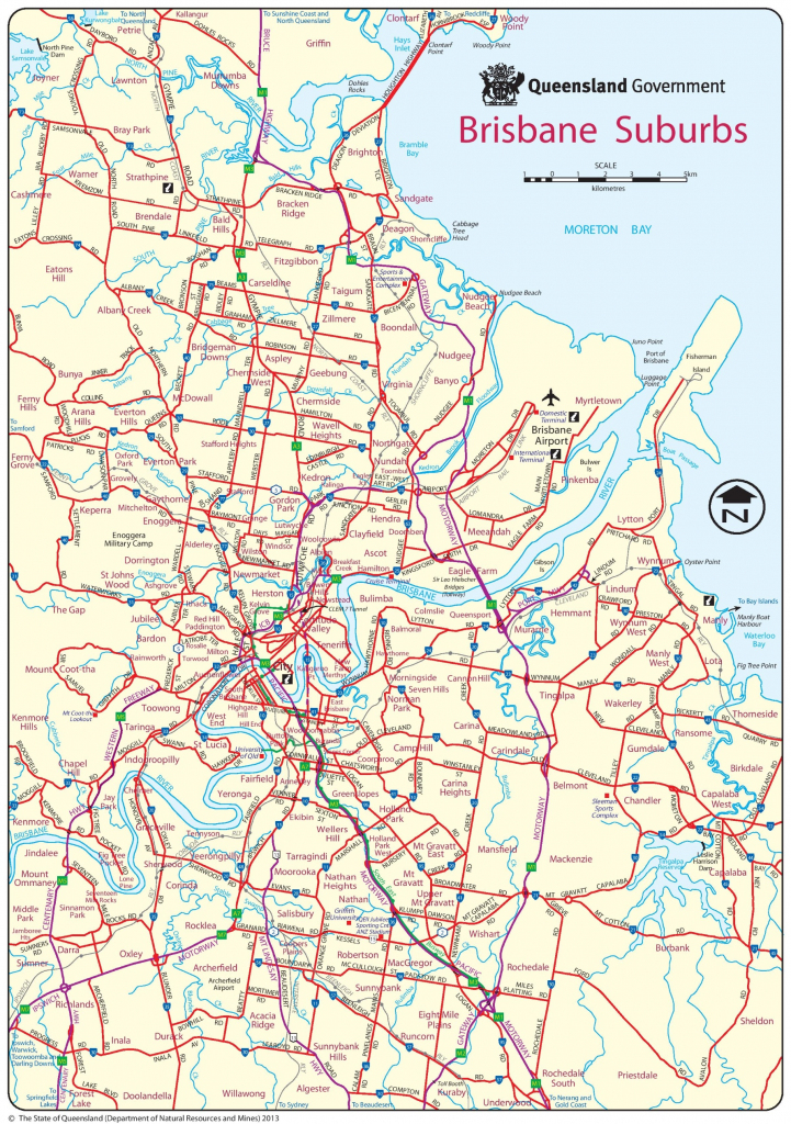 Brisbane Suburbs Map in Printable Map Of Brisbane