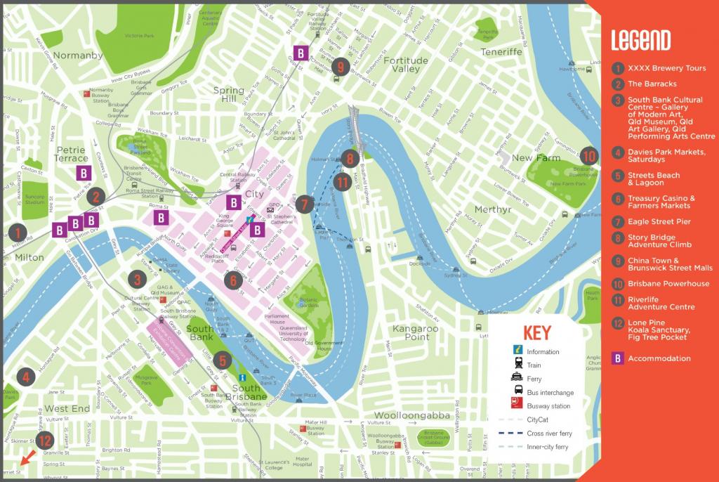 Brisbane Tourist Map within Printable Map Of Brisbane