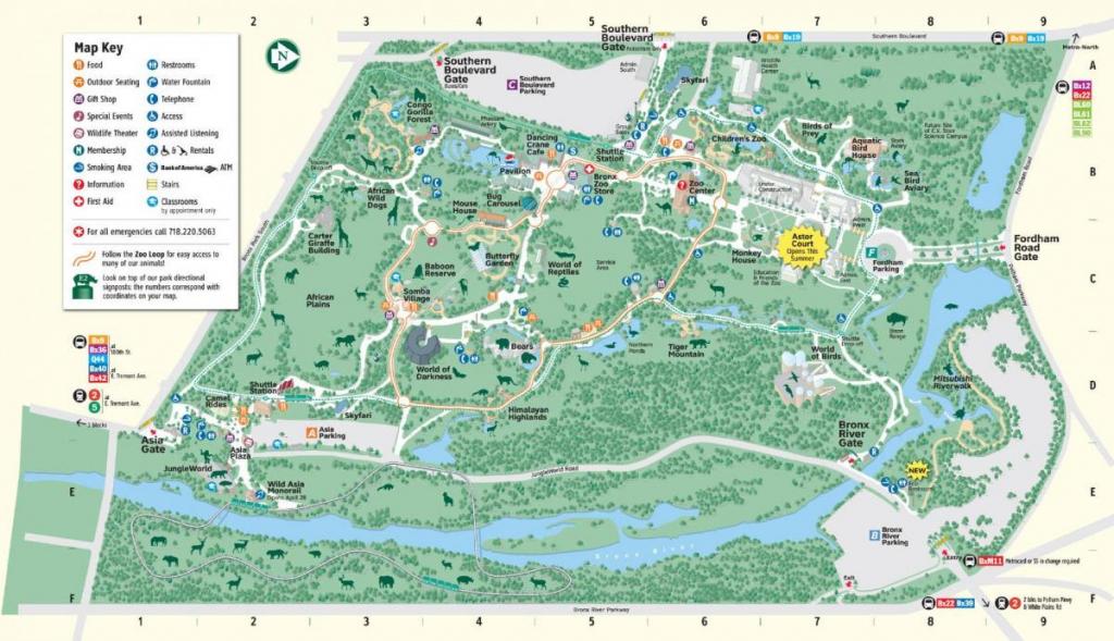 Bronx Zoo Entrances Map - Bronx Zoo Map Directions (New York - Usa) with Bronx Zoo Map Printable