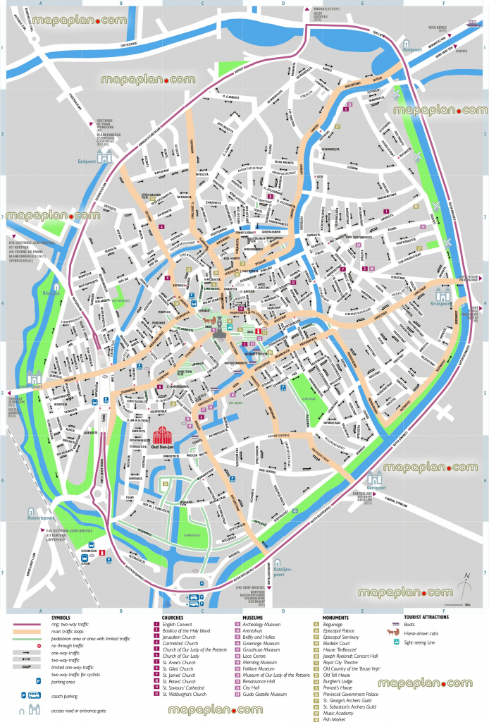 Bruges Map - Bruges Sightseeing Printable Virtual 3D Free Map For intended for Printable Street Map Of Bruges