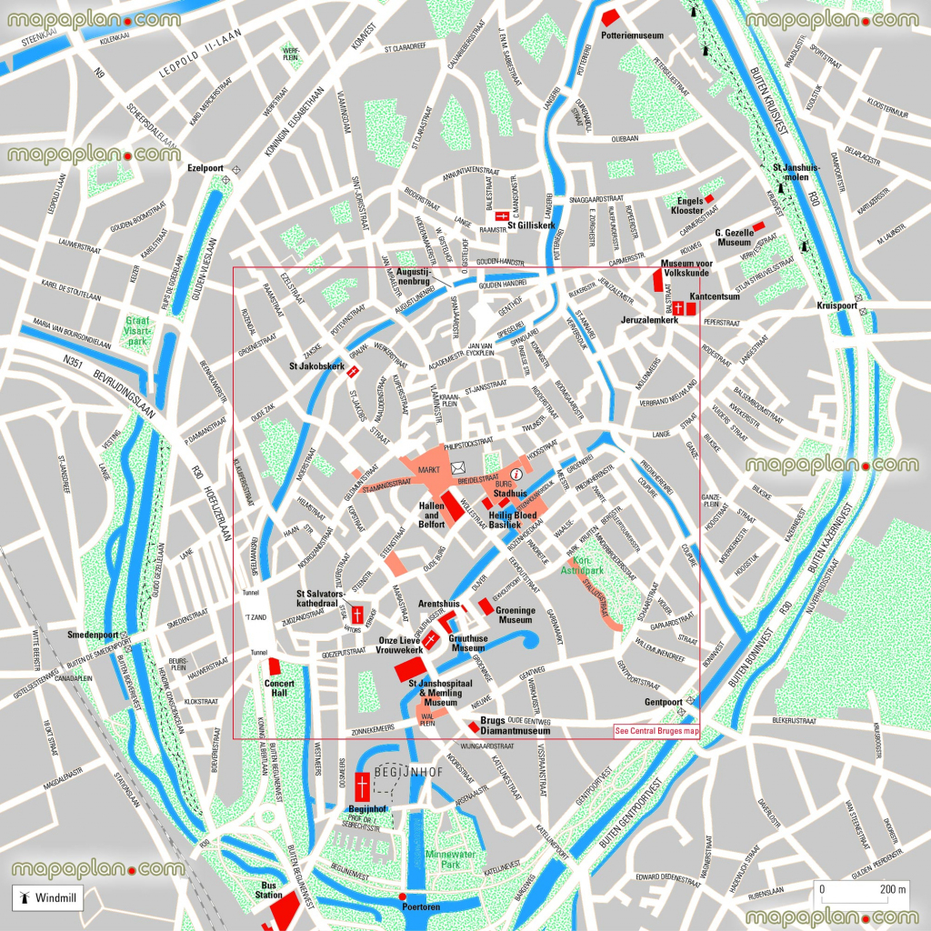 Bruges Maps - Top Tourist Attractions - Free, Printable City Street for Bruges Tourist Map Printable