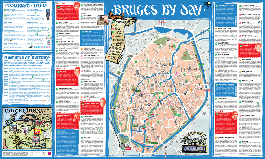 Bruges Sightseeing Map Free Tourist Attractions Teclabs Org 2835 for Printable Street Map Of Bruges