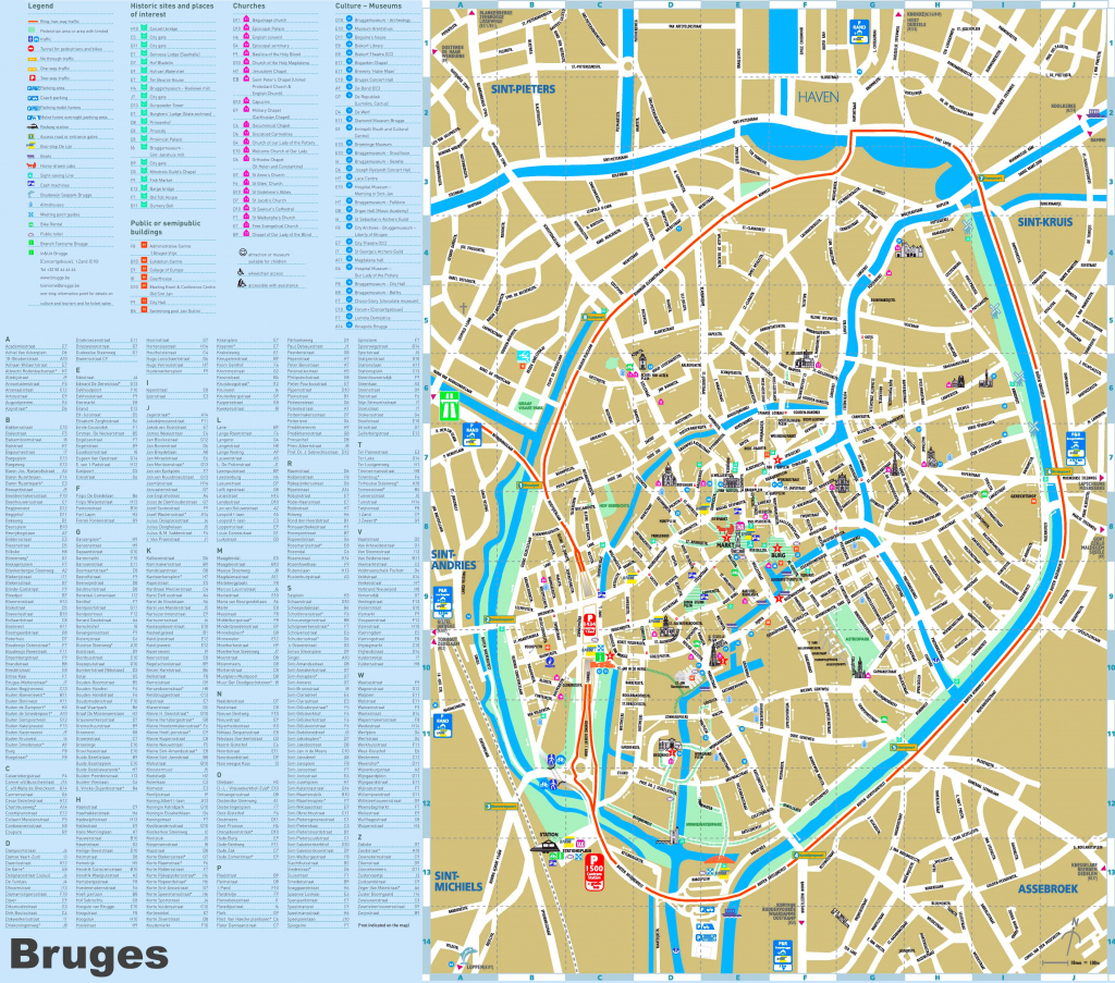 Bruges Tourist Attractions Map with regard to Printable Street Map Of Bruges