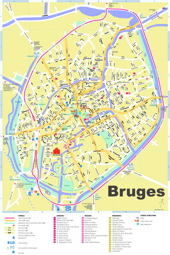 Bruges Tourist Map for Printable Street Map Of Bruges