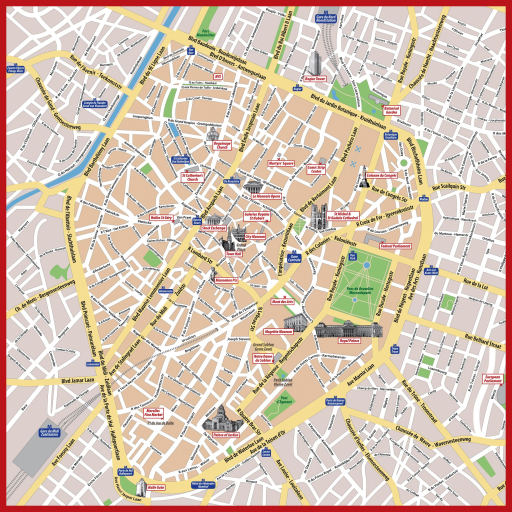 Brussels Printable Map - Printable Map Of Brussels (Belgium) inside Printable Map Of Brussels