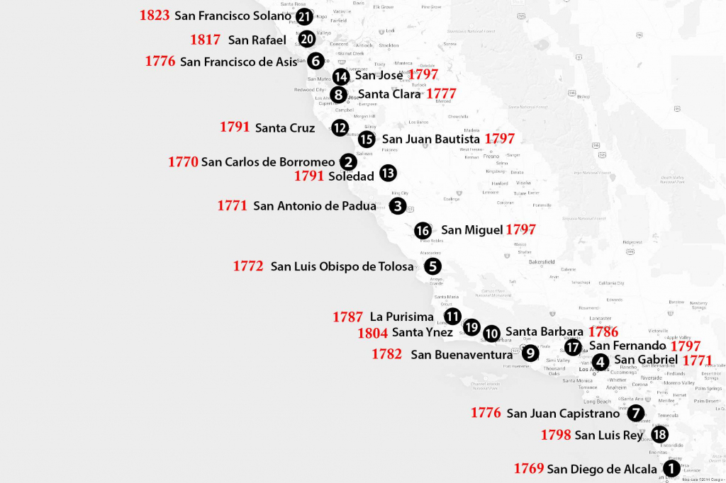 California Missions Map: Where To Find Them with regard to California Missions Map Printable