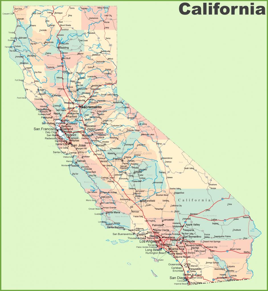 California Road Map inside Printable Road Map Of California