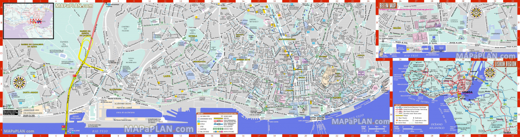 California Tourist Attractions Map Printable Lisbon Maps Top Tourist intended for Free Printable City Street Maps