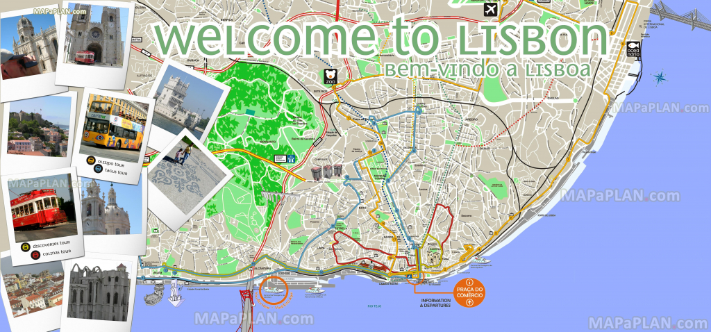 California Tourist Attractions Map Printable Maps Lisbon Maps Top with Lisbon Tourist Map Printable