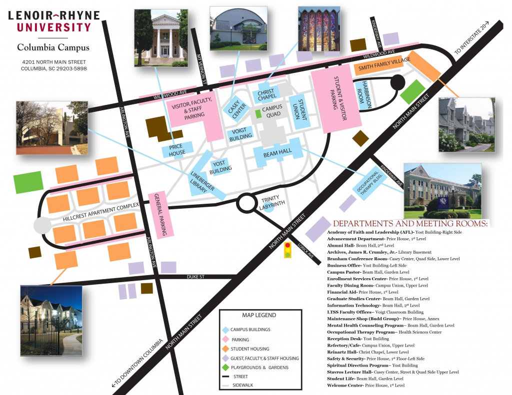 Campus Map & Directions - Lenoir-Rhyne University within Duke University Campus Map Printable