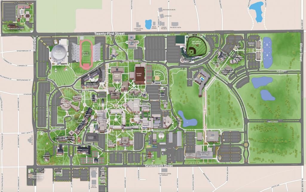 Campus Map   Wichita State University Online Visitor Guide regarding Printable Street Map Of Wichita Ks