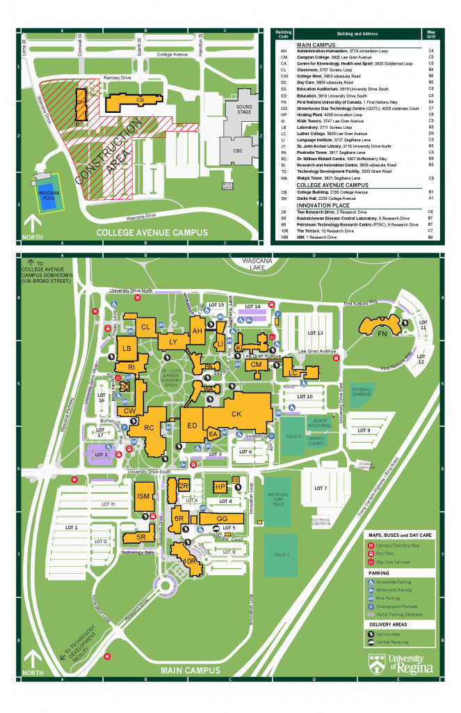 Campus Maps And Directions | Contact Us, University Of Regina intended for Uf Campus Map Printable