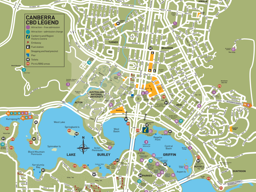 Canberra City Map | Visitcanberra with Printable Map Of Canberra