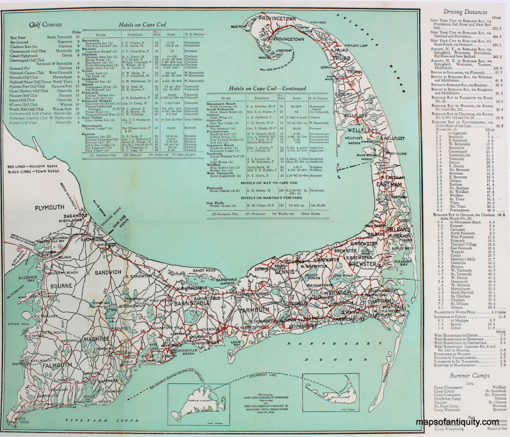 Cape Cod Road Map Print - Reproduction - - Antique Maps And Charts inside Printable Map Of Cape Cod Ma