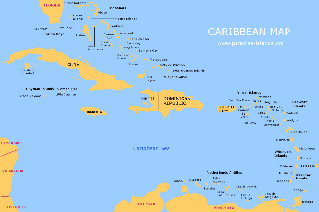 Caribbean Map | Free Map Of The Caribbean Islands for Printable Map Of The Caribbean
