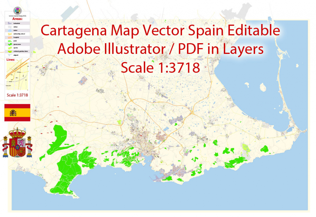Cartagena Pdf Map Vector Spain Extra Detailed City Plan Editable Layers intended for Printable Map Of Spain Pdf