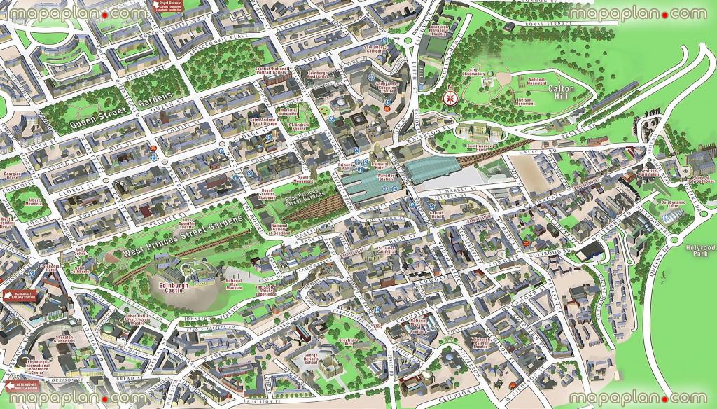 Central Edinburgh Scotland Visitors 3D Interactive Printable Inner inside Printable Map Of Edinburgh