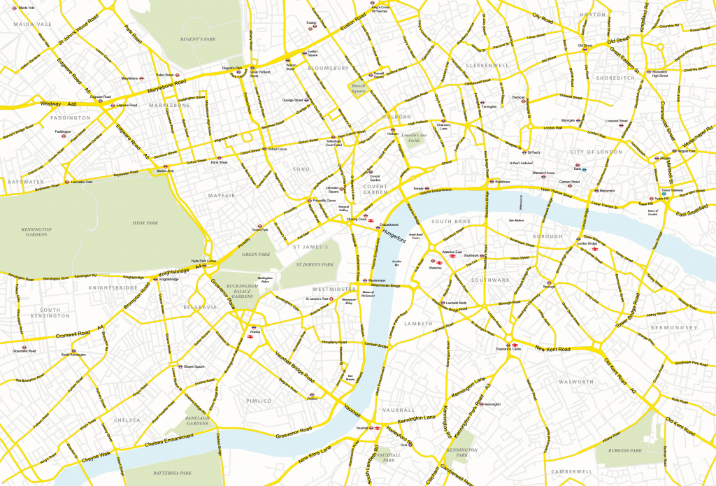 Central London Map - Royalty Free, Editable Vector Map - Maproom within London Street Map Printable