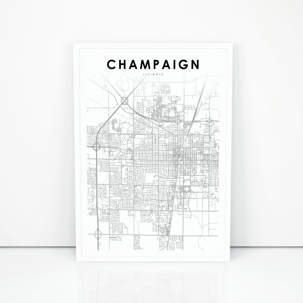 Champaign Map Print Illinois Il Usa Map Art Poster City | Etsy with Printable Map Of Champaign Il
