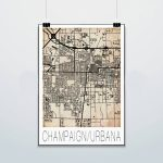 Champaign Urbana Map Print Poster Street Map Grunge | Etsy Within Printable Map Of Champaign Il