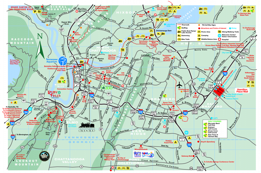 Chattanooga Area Maps with regard to Printable Area Maps