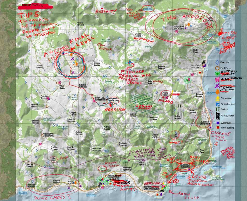 Chernarus Map With Annotations - Dayz Tv for Printable Dayz Standalone Map