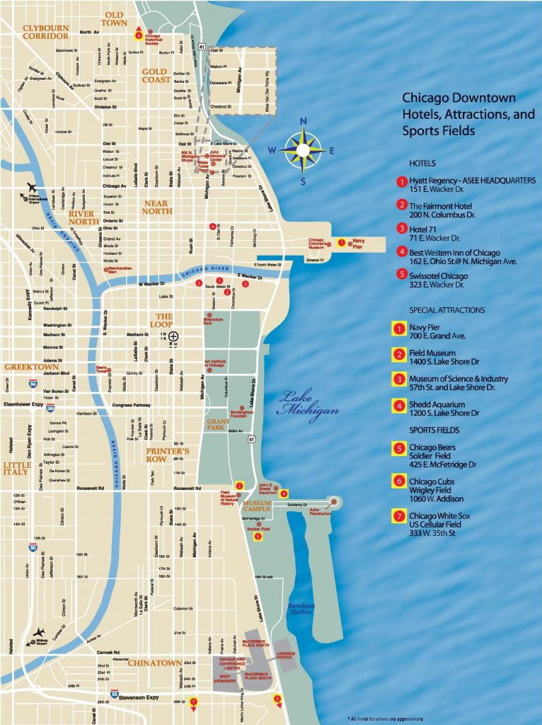 Chicago Downtown Map regarding Printable Map Of Downtown Chicago Streets