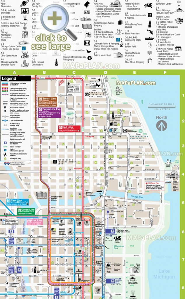 Chicago Maps - Top Tourist Attractions - Free, Printable City Street for Printable Map Of Downtown Chicago Streets