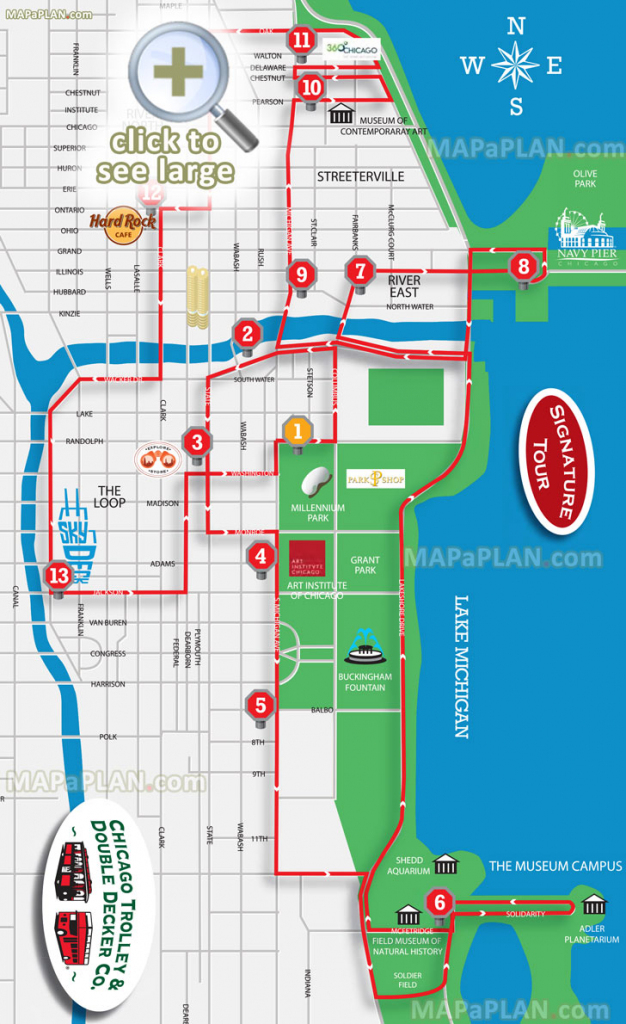Chicago Maps - Top Tourist Attractions - Free, Printable City Street Map for Printable Street Map Of Downtown Chicago