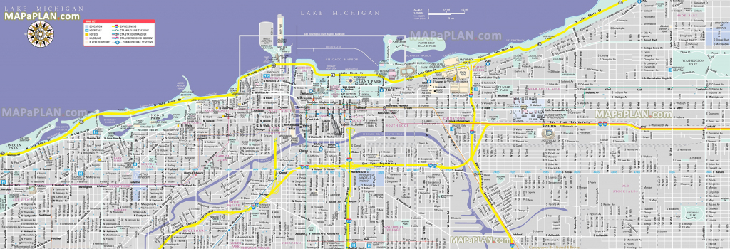 Chicago Maps - Top Tourist Attractions - Free, Printable City Street Map inside Printable Local Street Maps