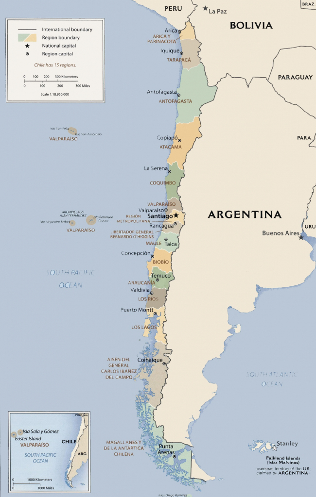 Chile Political Map regarding Printable Map Of Chile