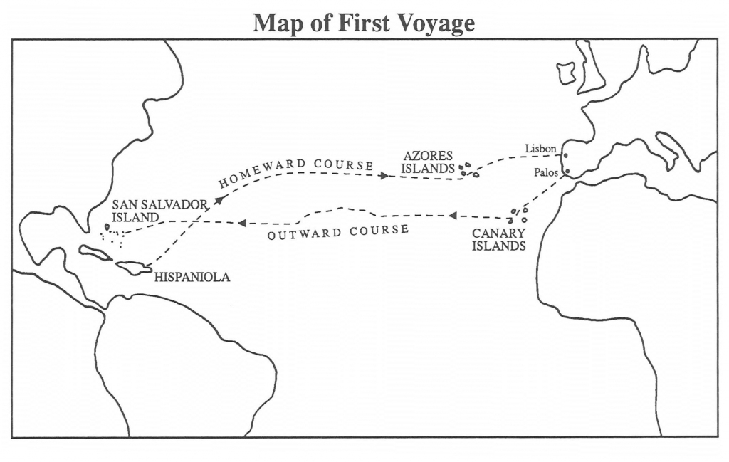 Christopher Columbus First Voyage | Chapter 5: First Voyage To The with Printable Map Of Christopher Columbus Voyages