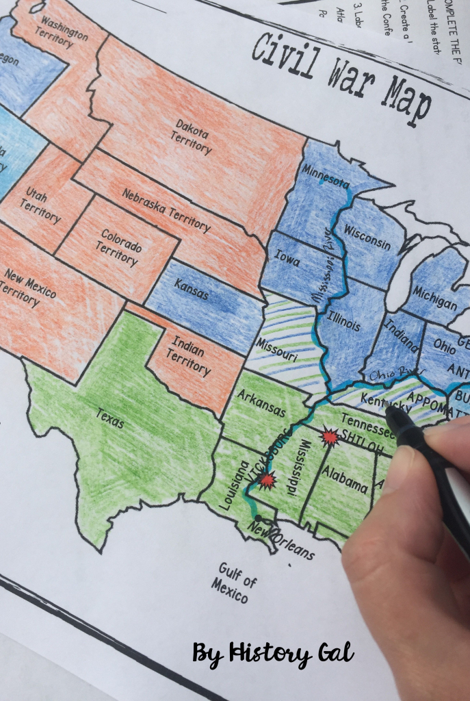 Civil War Map Activity | History Teacher | Map Activities, History inside Printable Civil War Map