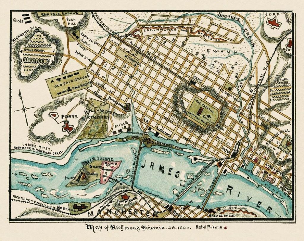 Civil War Map Print - Richmond Virginia Battlefield - 1863 - 29 X 23 with Printable Map Of Richmond Va