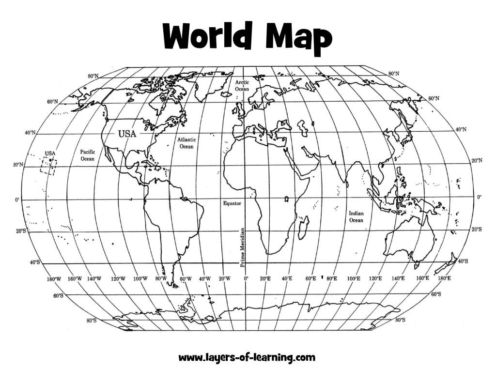 Climate: Latitude And Longitude World Map Grid Layers Of Learning for Printable World Map With Latitude And Longitude