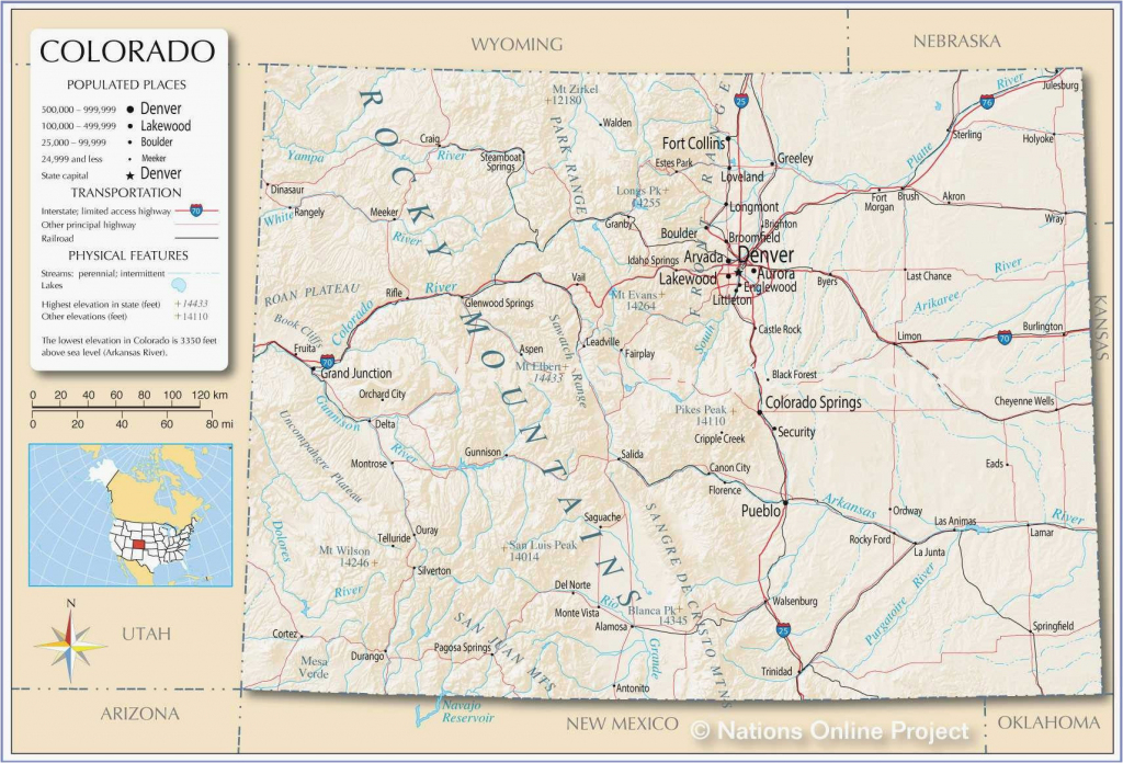 Colorado County Map With Towns Printable Map Of Us With Major Cities regarding Printable Map Of Colorado Springs